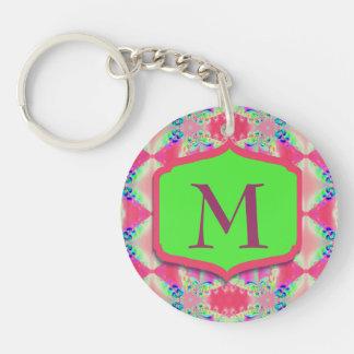 Llavero Modelo bonito del verde del rosa del monograma
