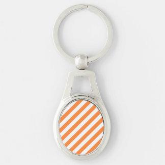 Llavero Modelo diagonal del naranja y blanco de las rayas