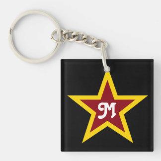 Llavero Monograma de encargo simple de la estrella roja y