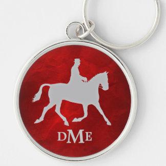 Llavero Monograma de plata elegante de Equestian del