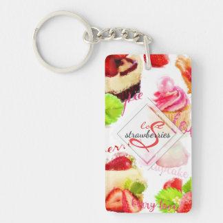 Llavero Monograma del amor de los dulces de la fresa de la