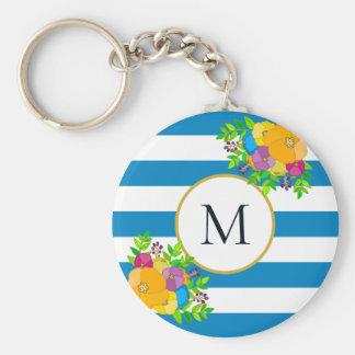 Llavero Monograma rayado blanco azul tropical floral