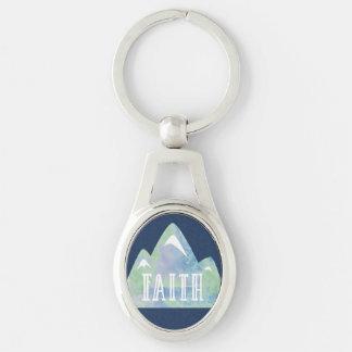 Llavero Montaña de la fe de la acuarela en fondo azul