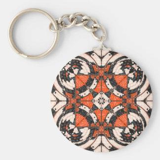 Llavero Naranja geométrico y extracto negro