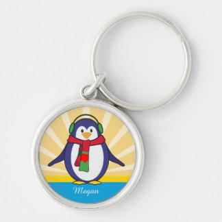 Llavero Navidad lindo del pingüino con su nombre