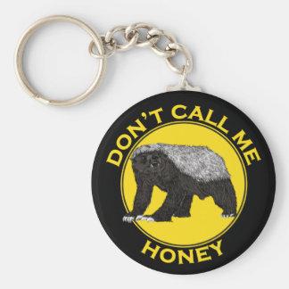 Llavero No me llame miel, lema de la feminista del tejón