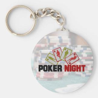 Llavero Noche del póker con los naipes y las fichas de