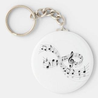 Llavero Notas musicales sobre una línea de personal