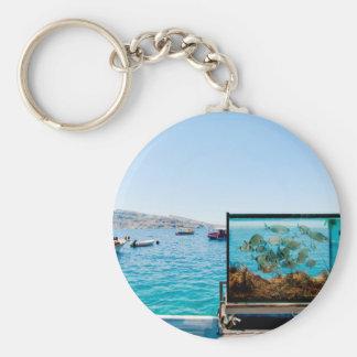 Llavero Opinión hermosa del mar de Santorini
