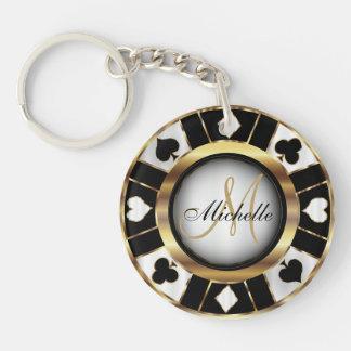 Llavero Oro y diseño de ficha de póker negro - monograma