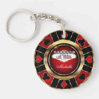 Llavero Oro y diseño de ficha de póker rojo - personalice