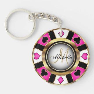 Llavero Oro y diseño de ficha de póker rosado - monograma