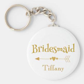 Llavero Oro y regalo de boda blanco de la dama de honor