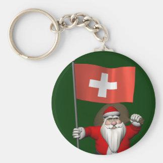 Llavero Papá Noel con la bandera de Suiza