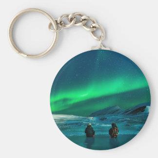 Llavero Pares verdes del paisaje de la aurora boreal