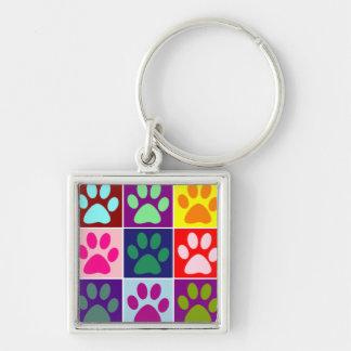 Llavero Patas multicoloras en cuadrados multicolores