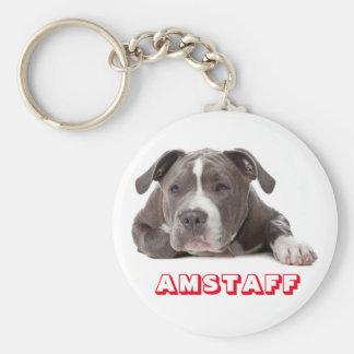Llavero Perro de perrito gris de Staffordshire Terrier