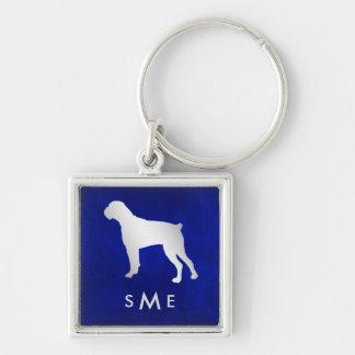 Llavero Perro de plata azul del boxeador del monograma
