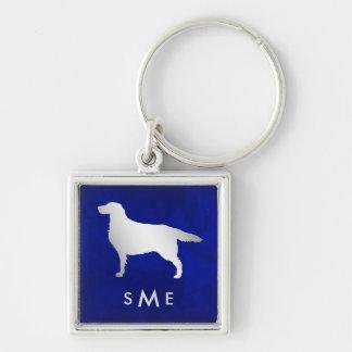 Llavero Perro de plata azul del organismo del monograma