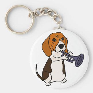 Llavero Perro divertido del beagle que toca la trompeta