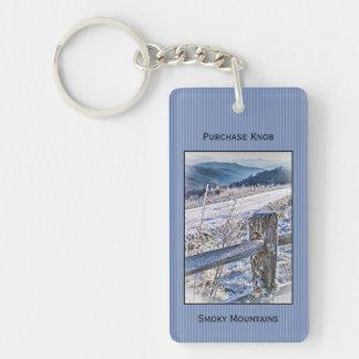 Llavero Personalice: Montañas ahumadas, invierno del botón