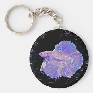 Llavero Pescados que luchan púrpuras iridiscentes