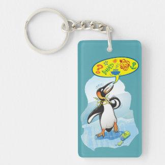 Llavero Pingüino de rey desesperado que dice malas