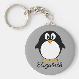 Llavero Pingüino lindo del dibujo animado con el fondo