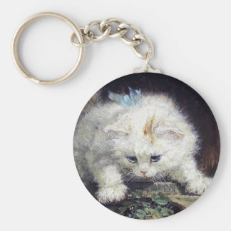 Llavero Pintura antigua animal linda del gatito del