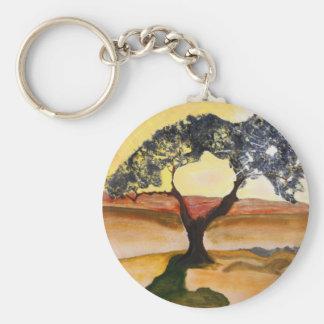 Llavero Pintura de paisaje amarilla del árbol del top de