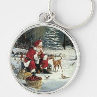 Llavero Pintura de Papá Noel - arte del navidad