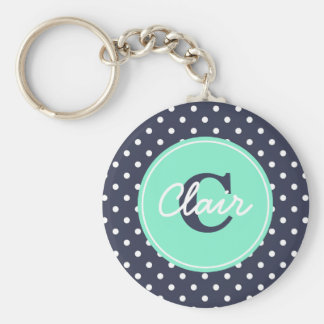 Navy and Mint Dots, Initial, and Name