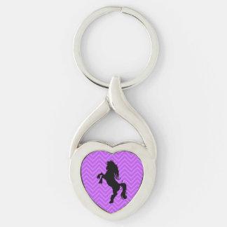 Llavero púrpura elegante del caballo del corazón llavero plateado en forma de corazón