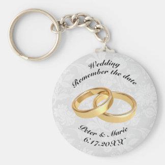 Llavero Recuerde los anillos de bodas de la fecha