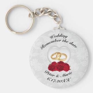 Llavero Recuerde los corazones y los rosas del boda de la
