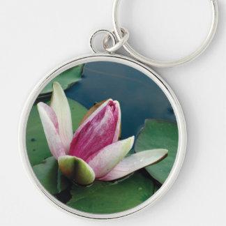 Llavero redondo de Lotus de la foto rosada del