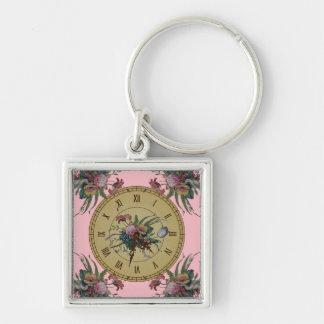 Llavero Reloj del vintage con las flores