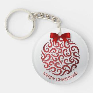 Llavero rojo simple del ornamento del navidad