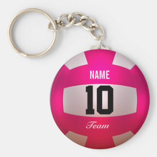 Llavero Rosa brillante del voleibol del personalizar