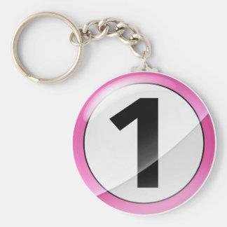 Llavero rosado del número 1