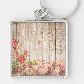 Llavero Rosas románticos rústicos del vintage de madera