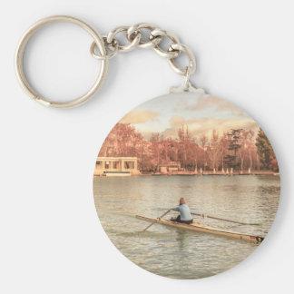 Llavero Rowing de la mujer en Del Retiro Park, Madrid,