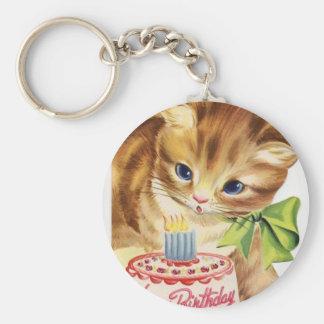 Llavero Saludo retro de la torta de cumpleaños del gatito