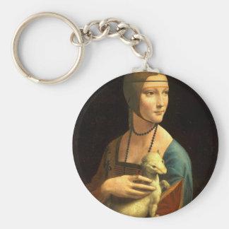 Llavero Señora de la pintura de Da Vinci original con un
