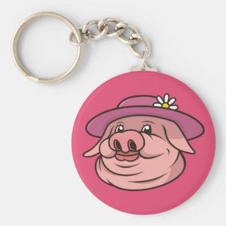Llavero Señora Pig Portrait Pink Keychain