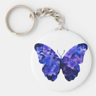Llavero Silueta púrpura de la mariposa de la flor