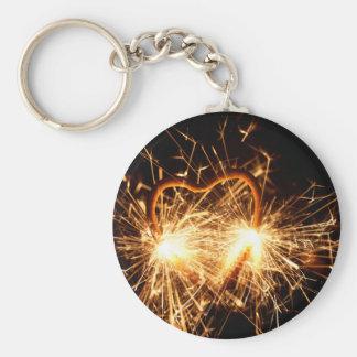 Llavero Sparkler ardiente en forma de un corazón