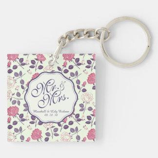 Llavero Sr. y señora Vintage Floral Wedding Keychain