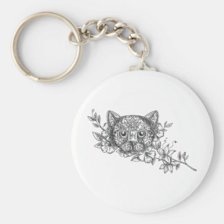 Llavero Tatuaje principal de la flor del jazmín del gato