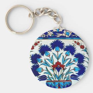 Llavero Tejas turcas abstractas florales antiguas del